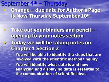 September 4 th – Thursday Change – due date for Author's Page is Now Thursday September 10 th. Change – due date for Author's Page is Now Thursday September.