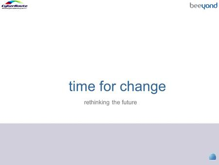 Time for change rethinking the future.  The concept.  The architecture.
