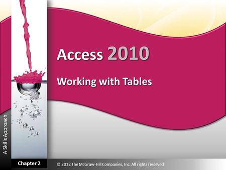 A Skills Approach Access 2010 Working with Tables © 2012 The McGraw-Hill Companies, Inc. All rights reserved Chapter 2.