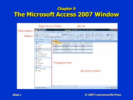 Chapter 9 The Microsoft Access 2007 Window © 2007 Lawrenceville Press Slide 1.