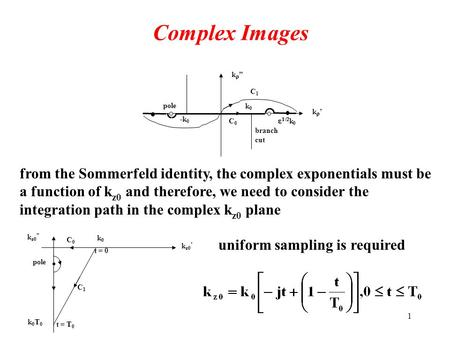 "1 Complex Images k'k' k""k"" k0k0 -k0-k0 branch cut   k 0 pole C1C1 C0C0 from the Sommerfeld identity, the complex exponentials must be a function."