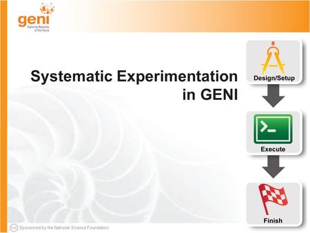 Sponsored by the National Science Foundation Systematic Experimentation in GENI.