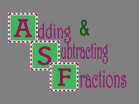 Adding & Subtracting Fractions with Same Denominators Steps; 1) Add or subtract the numerators 2) Keep the denominator the same 3) Simplify by reducing.