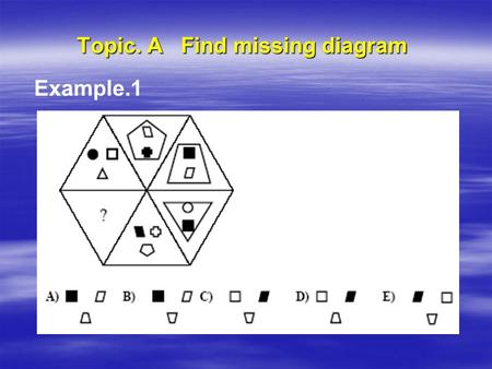 Topic. A Find missing diagram Example.1. Topic. A Find missing diagram  Example.2.