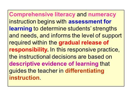 Comprehensive literacy and numeracy instruction begins with assessment for learning to determine students' strengths and needs, and informs the level of.