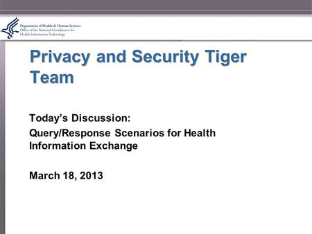 Privacy and Security Tiger Team Today's Discussion: Query/Response Scenarios for Health Information Exchange March 18, 2013.