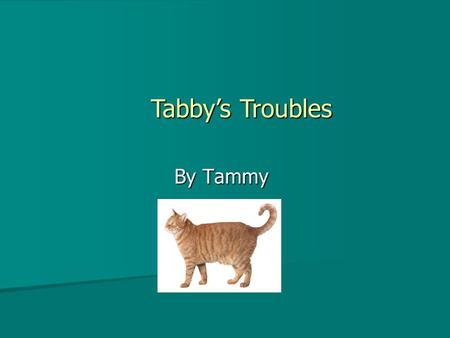 By Tammy Tabby's Troubles Tabby was a very curious cat Tabby was always getting into trouble Tabby was always getting into trouble He liked to chase.