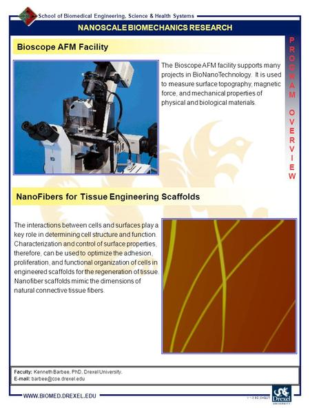 School of Biomedical Engineering, Science & Health Systems WWW.BIOMED.DREXEL.EDU V 1.0 SD [040227] NANOSCALE BIOMECHANICS RESEARCH PROGRAM OVERVIEWPROGRAM.