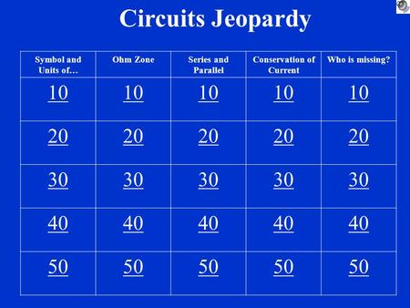 Circuits Jeopardy Symbol and Units of… Ohm ZoneSeries and Parallel Conservation of Current Who is missing? 10 20 30 40 50.