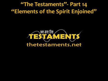 """The Testaments""- Part 14 ""Elements of the Spirit Enjoined"""