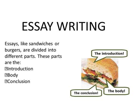 ESSAY WRITING Essays, like sandwiches or burgers, are divided into different parts. These parts are the: Introduction Body Conclusion.