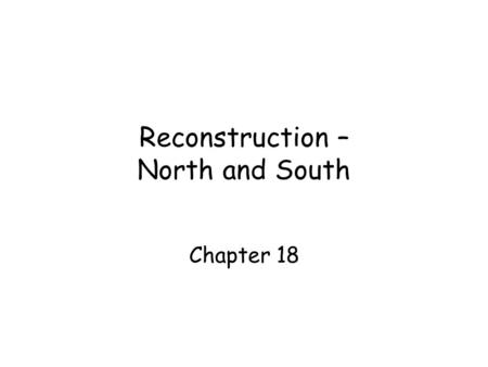 Reconstruction – North and South Chapter 18. Remembering the Civil War.