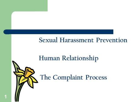 1 Sexual Harassment Prevention Human Relationship The Complaint Process.