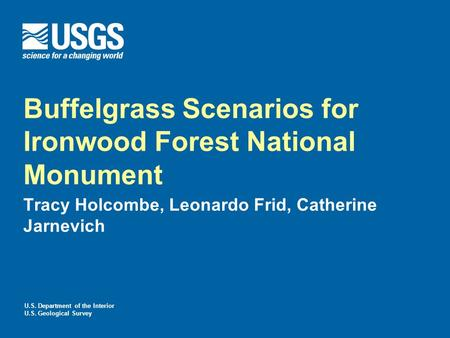 U.S. Department of the Interior U.S. Geological Survey Buffelgrass Scenarios for Ironwood Forest National Monument Tracy Holcombe, Leonardo Frid, Catherine.