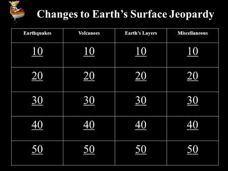 Changes to Earth's Surface Jeopardy EarthquakesVolcanoesEarth's LayersMiscellaneous 10 20 30 40 50.