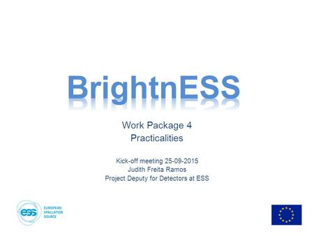 Work Package 4 Practicalities Kick-off meeting 25-09-2015 Judith Freita Ramos Project Deputy for Detectors at ESS.