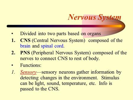 Nervous System Divided into two parts based on organs 1.CNS (Central Nervous System) composed of the brain and spinal cord. 2.PNS (Peripheral Nervous System)
