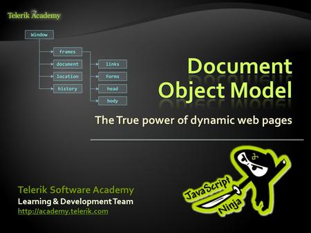 The True power of dynamic web pages Learning & Development Team  Telerik Software Academy.
