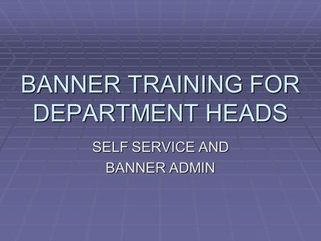 BANNER TRAINING FOR DEPARTMENT HEADS SELF SERVICE AND BANNER ADMIN.