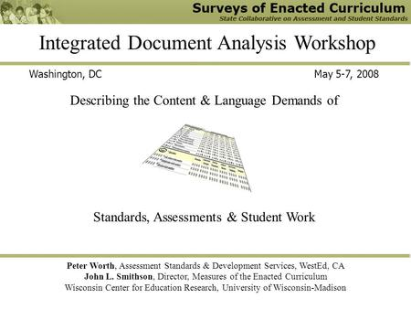 Integrated Document Analysis Workshop Peter Worth, Assessment Standards & Development Services, WestEd, CA John L. Smithson, Director, Measures of the.