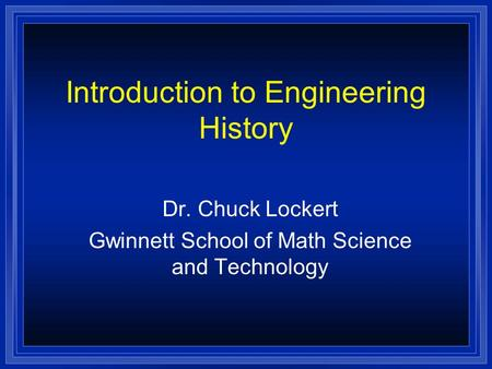 Introduction to the History of Technology