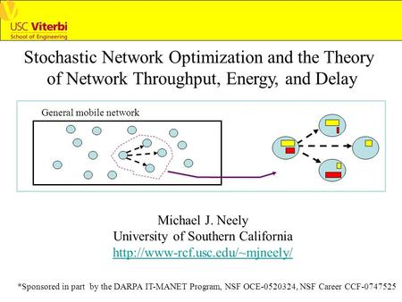Stochastic <strong>Network</strong> Optimization <strong>and</strong> the <strong>Theory</strong> of <strong>Network</strong> Throughput, Energy, <strong>and</strong> Delay Michael J. Neely University of Southern California