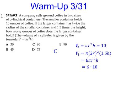 1. Warm-Up 3/31 C. Rigor: You will learn how to solve polynomial inequalities and rational inequalities. Relevance: You will be able to use polynomial.