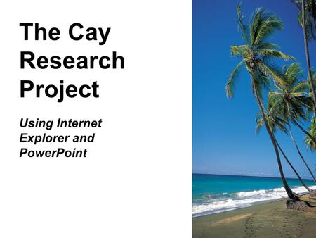 The Cay Research Project