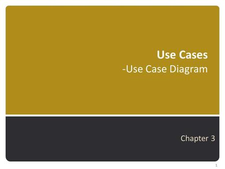 Use Cases -Use Case Diagram Chapter 3 1. Where are we? 2 Analysis Chapters Ch 2Investigating System Requirements Ch 3Use Cases Ch 4Domain Modeling Ch.