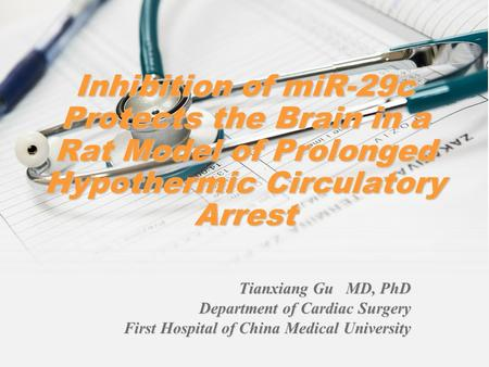 Inhibition of miR-29c Protects the Brain in a Rat Model of Prolonged Hypothermic Circulatory Arrest Tianxiang Gu MD, PhD Department of Cardiac Surgery.