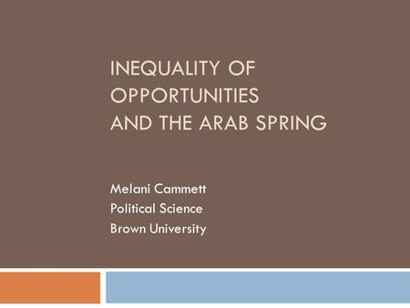 INEQUALITY OF OPPORTUNITIES AND THE ARAB SPRING Melani Cammett Political Science Brown University.