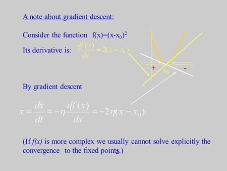 A note about gradient descent: Consider the function f(x)=(x-x 0 ) 2 Its derivative is: By gradient descent (If f(x) is more complex we usually cannot.