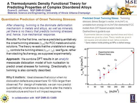 A Thermodynamic Density Functional Theory for Predicting Properties of Complex Disordered Alloys Duane D. Johnson, NSF DMR-0312448 Materials Science and.