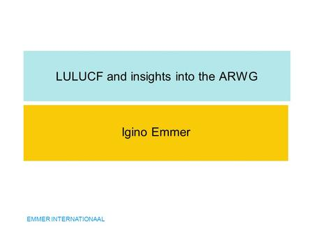 EMMER INTERNATIONAAL LULUCF and insights into the ARWG Igino Emmer.