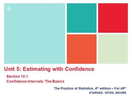 + The Practice of Statistics, 4 th edition – For AP* STARNES, YATES, MOORE Unit 5: Estimating with Confidence Section 10.1 Confidence Intervals: The Basics.