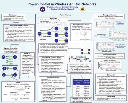 Power Control in Wireless Ad Hoc Networks Background An ad hoc network is a group of self configuring wireless nodes that lack infrastructure. Motivation—Power.