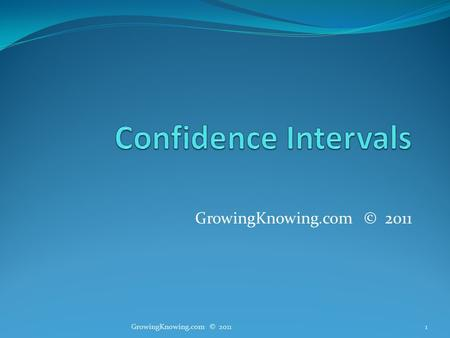 GrowingKnowing.com © 2011 1. Estimates We are often asked to predict the future! When will you complete your team project? When will you make your first.