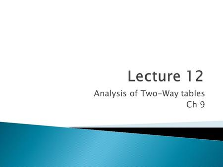 Analysis of Two-Way tables Ch 9
