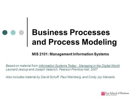 Business Processes and Process Modeling MIS 2101: Management Information Systems Based on material from Information Systems Today: Managing in the Digital.