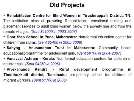 Old Projects Rehabilitation Centre for Blind Women in Tiruchirappalli District, TN: The institution aims at providing Rehabilitation, vocational training.