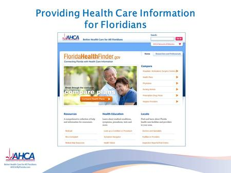 Providing Health Care Information for Floridians.