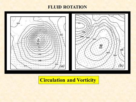 FLUID ROTATION Circulation and Vorticity. Arbitrary blob of fluid rotating in a horizontal plane Circulation: A measure of the rotation within a finite.
