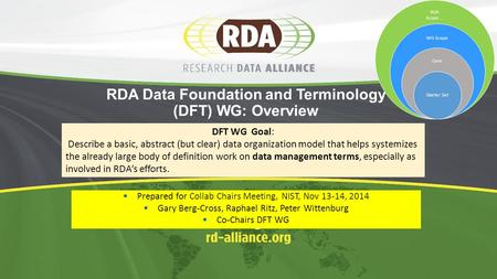 RDA Data Foundation and Terminology (DFT) WG: Overview  Prepared for Collab Chairs Meeting, NIST, Nov 13-14, 2014  Gary Berg-Cross, Raphael Ritz, Peter.