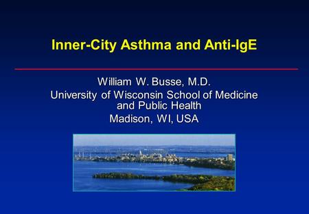 Inner-City Asthma and Anti-IgE William W. Busse, M.D. University of Wisconsin School of Medicine and Public Health Madison, WI, USA.