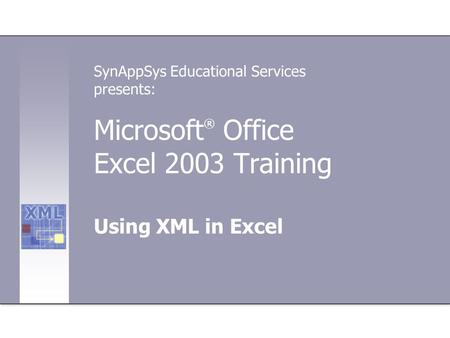 Microsoft ® Office Excel 2003 Training Using XML in Excel SynAppSys Educational Services presents: