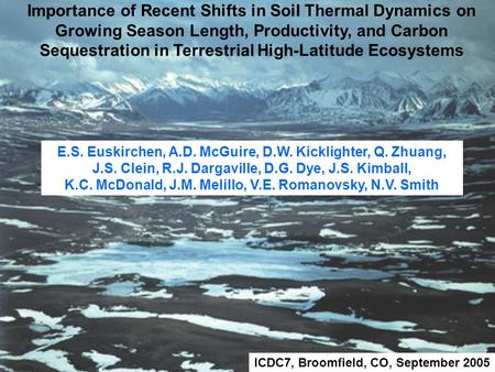 Importance of Recent Shifts in Soil Thermal Dynamics on Growing Season Length, Productivity, and Carbon Sequestration in Terrestrial High-Latitude Ecosystems.
