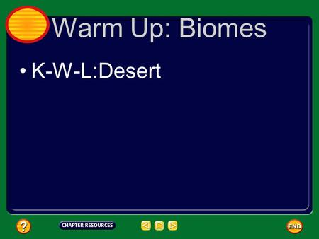 Warm Up: Biomes K-W-L:Desert.