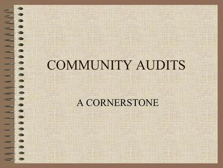 COMMUNITY AUDITS A CORNERSTONE. Community Audits ensure: Effective strategic planning efforts Linkages between Workforce Boards, contractors and key community.