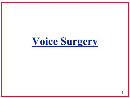 1 Voice Surgery. 2 Phonosurgery 3 Anatomy & Physiology of the Voice Tract.
