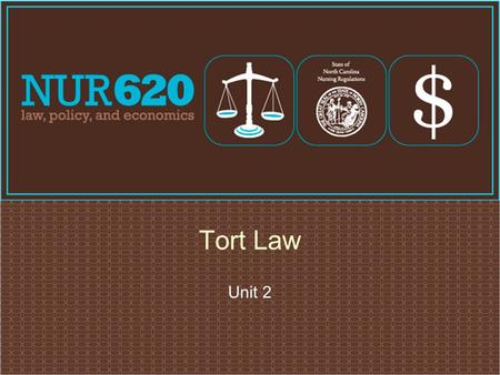 Unit 2 Tort Law. Negligence  Conduct lacking in due care  Carelessness  Deviation from standard of care that a reasonable person would use in a particular.